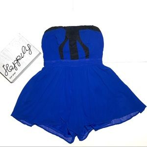 XOXO Strapless Chiffon Royal Blue Black Romper
